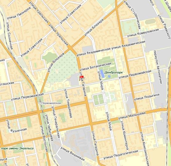 Офис ЗАО Атомэнерго в Екатеринбурге на карте города